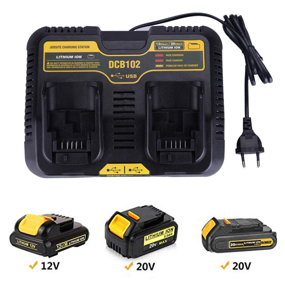 DCB102 Li-ion Battery USB Dual Port Charger 3.0A For DeWalt 10.8V 12V 14.4V 18V 20V DCB101 DCB200 DCB140 DCB105 DCB200