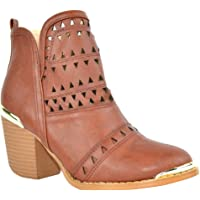Chase & Chloe EI84 Women's Cut Out Pull On Stacked Chunky Heel Ankle Booties