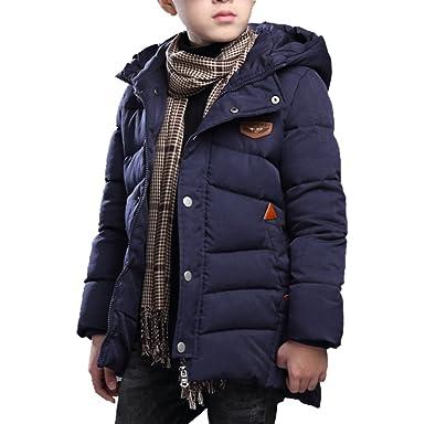 520077188a418 Echinodon Jungen Winterjacke Kinder Verdickte Lange Mantel mit Kapuze  Winter Jacke Parka  Amazon.de  Bekleidung