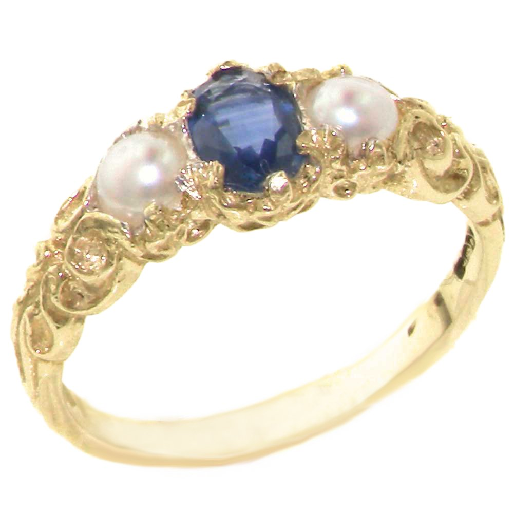 LetsBuyGold 10k Yellow Gold Natural Sapphire & Cultured Pearl Womens Anniversary Ring - Size 10.25