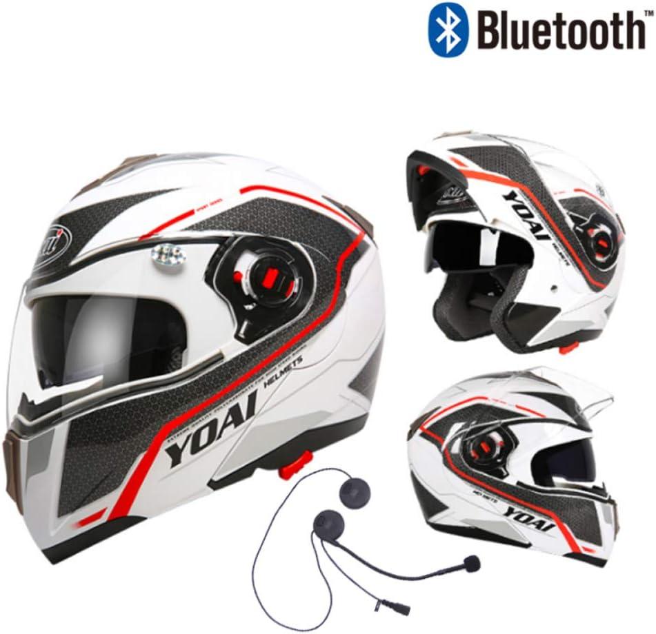 YCYO Modularer Bluetooth-Helm F/ür Motorr/äder Mit Doppelvisier Antibeschlag-Doppelscheibe Motorrad-Motorradhelm Mit Integriertem Headset