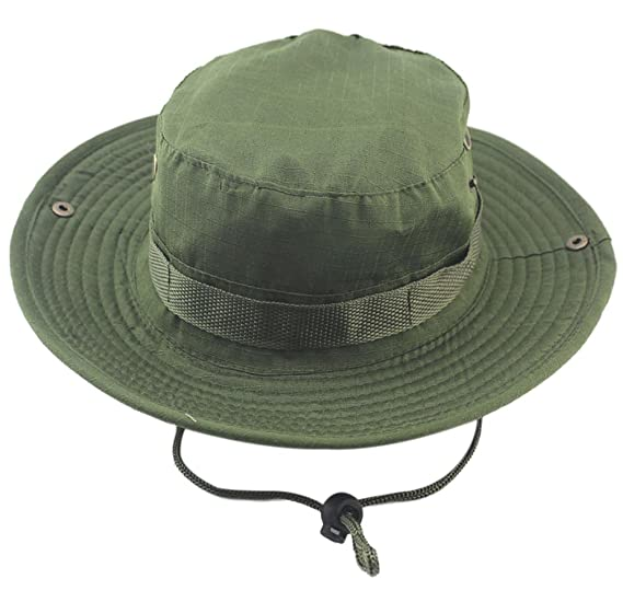 EachEver Men s Military Camo Outdoor Hunting Fishing Boonie Hat Bucket Sun  Cap Army Green 11a71a432d0