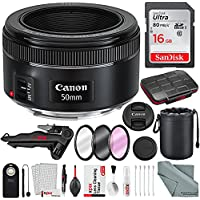 Canon EF 50mm f/1.8 STM Lens and Deluxe Bundle w/ Filters + Xpix 2-in-1Tripod + 24pc Memory Card Case + Deluxe Xpix Cleaning Kit + More