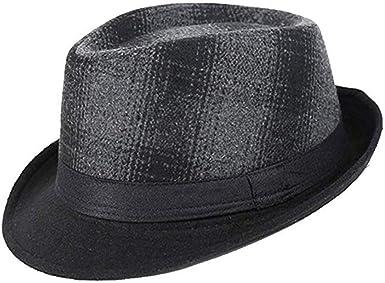 ToVii Sombrero Hombre Fieltro Trilby Británico Cap Caballero Gorra ...