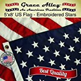 US Flag 5×8: 100% American Made. American Flag 5×8 ft. Quality Embroidered Stars & Sewn Stripes
