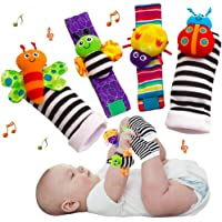 iZiv Cute Animal Soft Baby Socks Toys Wrist Rattles and Foot Finders for Fun Butterflies and Lady Bugs Set 4 pcs