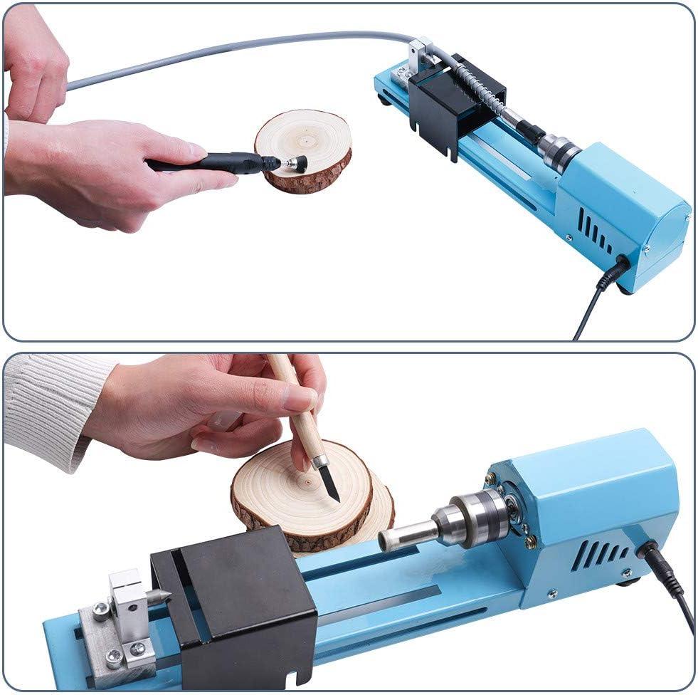 Mini Holzbearbeitung DIY Drehmaschine 12-24V DC 150W Drehmaschinen Perlen Schleifmaschine CNC Bearbeitung Desktop Holzbearbeitungswerkzeug Set