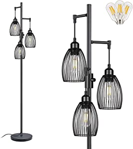 Industrial Floor Lamp, Dimmable Farmhouse Floor Lamps Living Room Standing Tree Lamp with 3 Elegant Cage Heads & LED Edison Bulbs, Black Rustic Tall Lamps for Office Bedroom