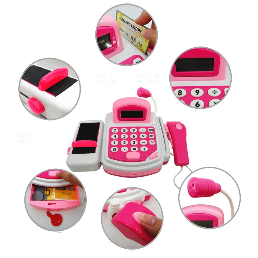 FAPIZI ☀ Toy ☀ Pretend Play Electronic Cash Register Toy Realistic Actions & Sounds With Mic (Pink) by FAPIZI (Image #3)