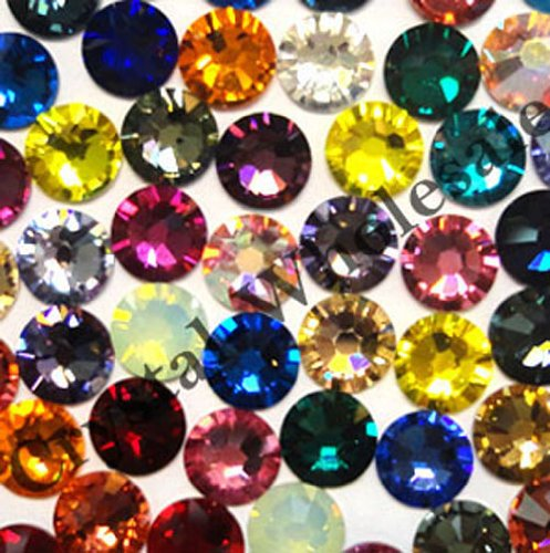 (144 Swarovski 2028 / 2038 10ss HOTFIX crystal flatbacks ss10 mix colors HF)