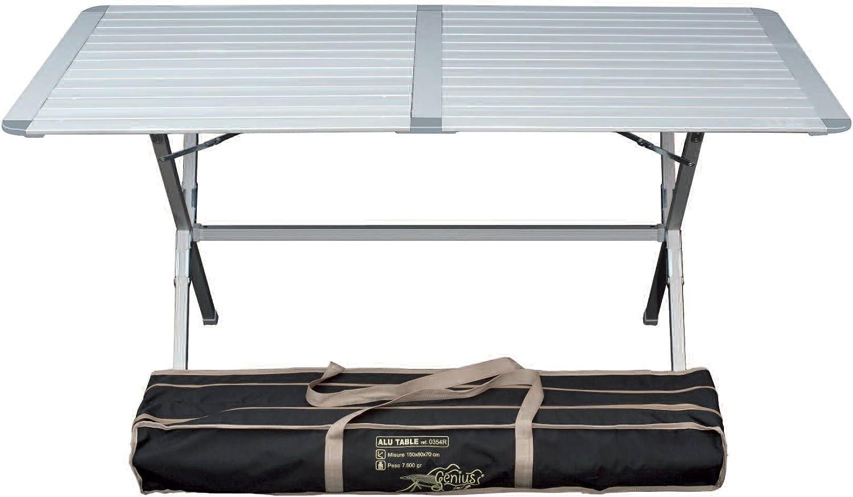 Genius - Mesa de camping (aluminio, 150 x 80 cm)