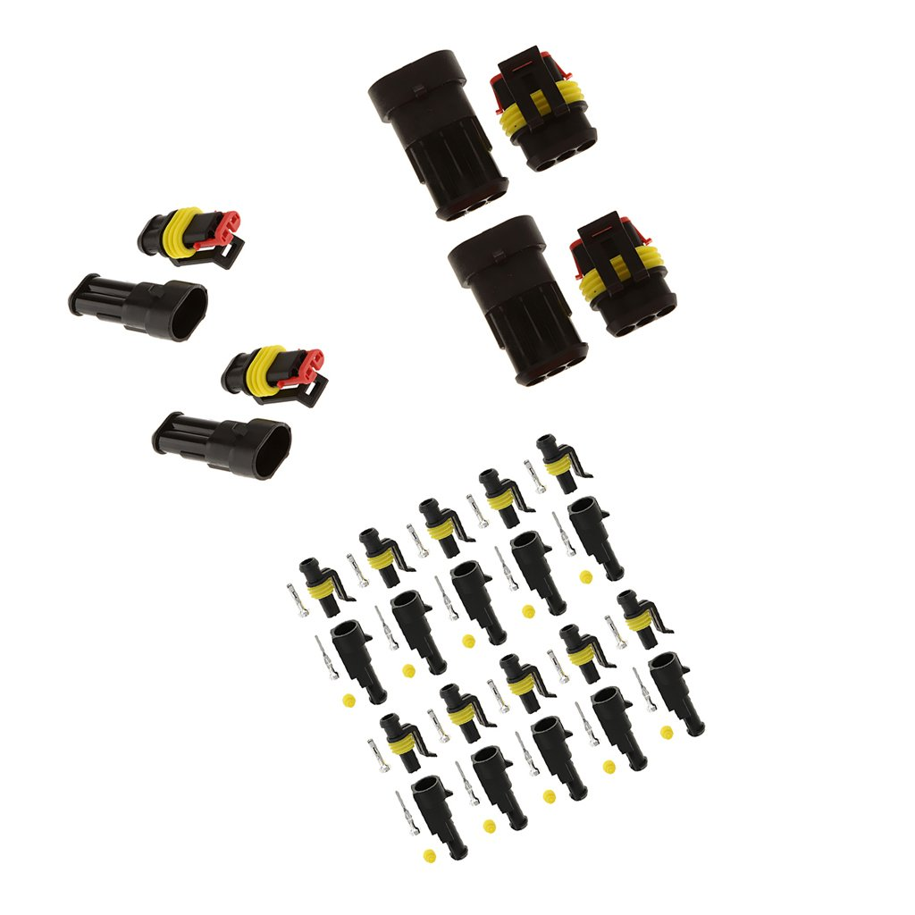 Magideal 30 Kit 1 2 3 Pin Sealed Waterproof Electrical Wire Car Auto 4 Way Connector Plug Terminal Motorbike