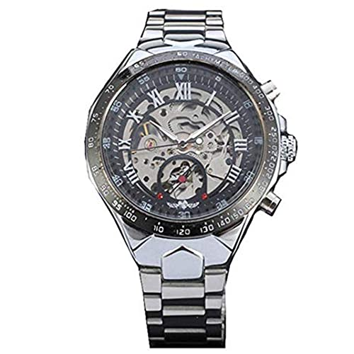 Yoodeet Russian Skeleton Watches Automatic Self-Wind Mechanical Watches Silver Stainless Steel Men's Wrist Watch