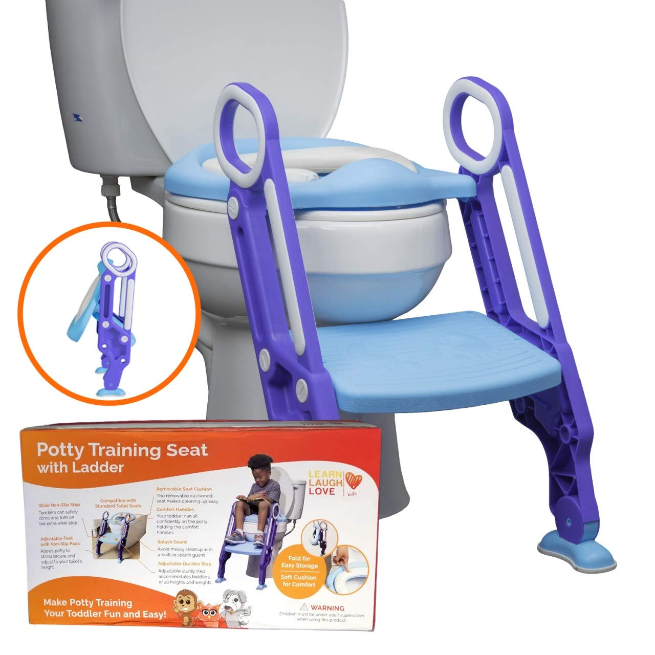 Potty Training Seat with Ladder by Learn Laugh Love Kids - Potty Ladder for Boys & Girls Adjusts to Fit Most Toilets & Folds to Become Portable Potty Seat for Toddler - Easy & Safe Potty Chair by Learn Laugh Love Kids