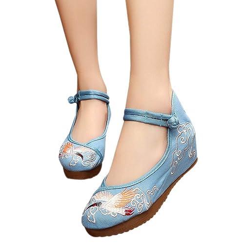 BOZEVON Zapatos Bordados - Zapatos de Bordada con Bordado Ibis de Cresta Viejos Pekín de Zapatos