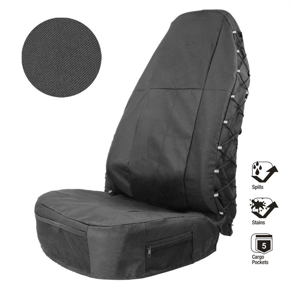 SmartSpec Waterproof Universal Car Seat Cover Front Driver Multi-Pockets Organiser Storage Holder Seat Protector 1 Pack