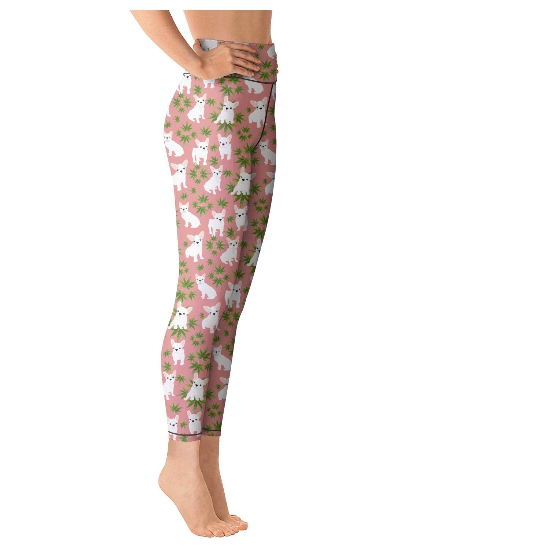 High Waisted Womens Leggins Cannabis Leaf Dog Green Yoga Pants Active Fashion Leggings
