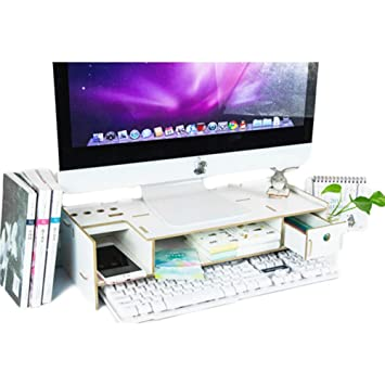 minedecor madera organizador de escritorio con cajón bandejas oficina ordenador de sobremesa Organizadores soporte monitor soporte