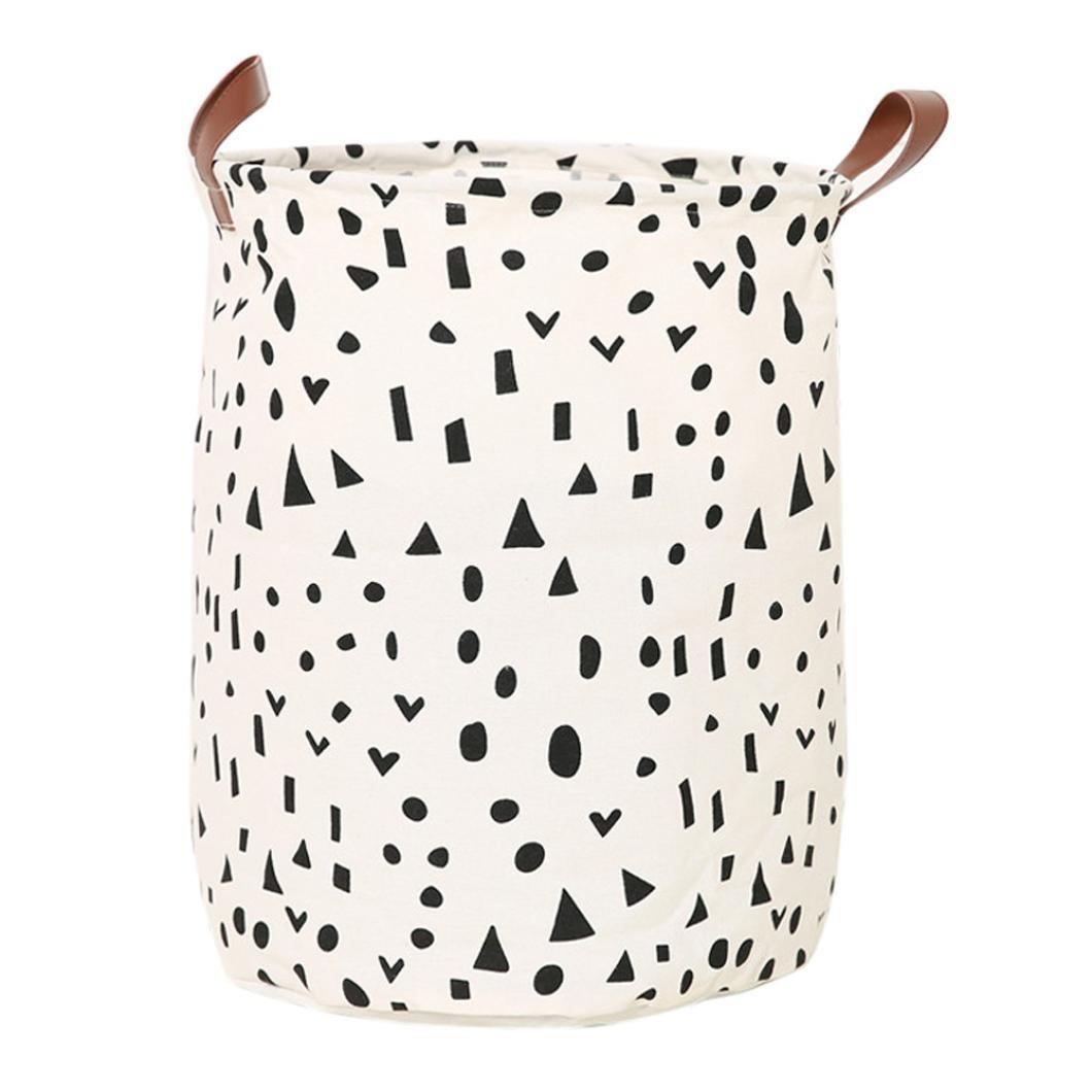 Storage Box ,IEason Clearance Sale! Waterproof Canvas Sheets Laundry Clothes Toy Basket Folding Storage Box (B)