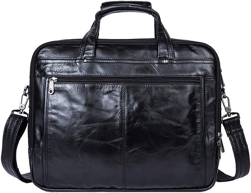 Genda 2Archer Vintage Look Leather 14 Laptop Briefcase Messenger Tote Bag
