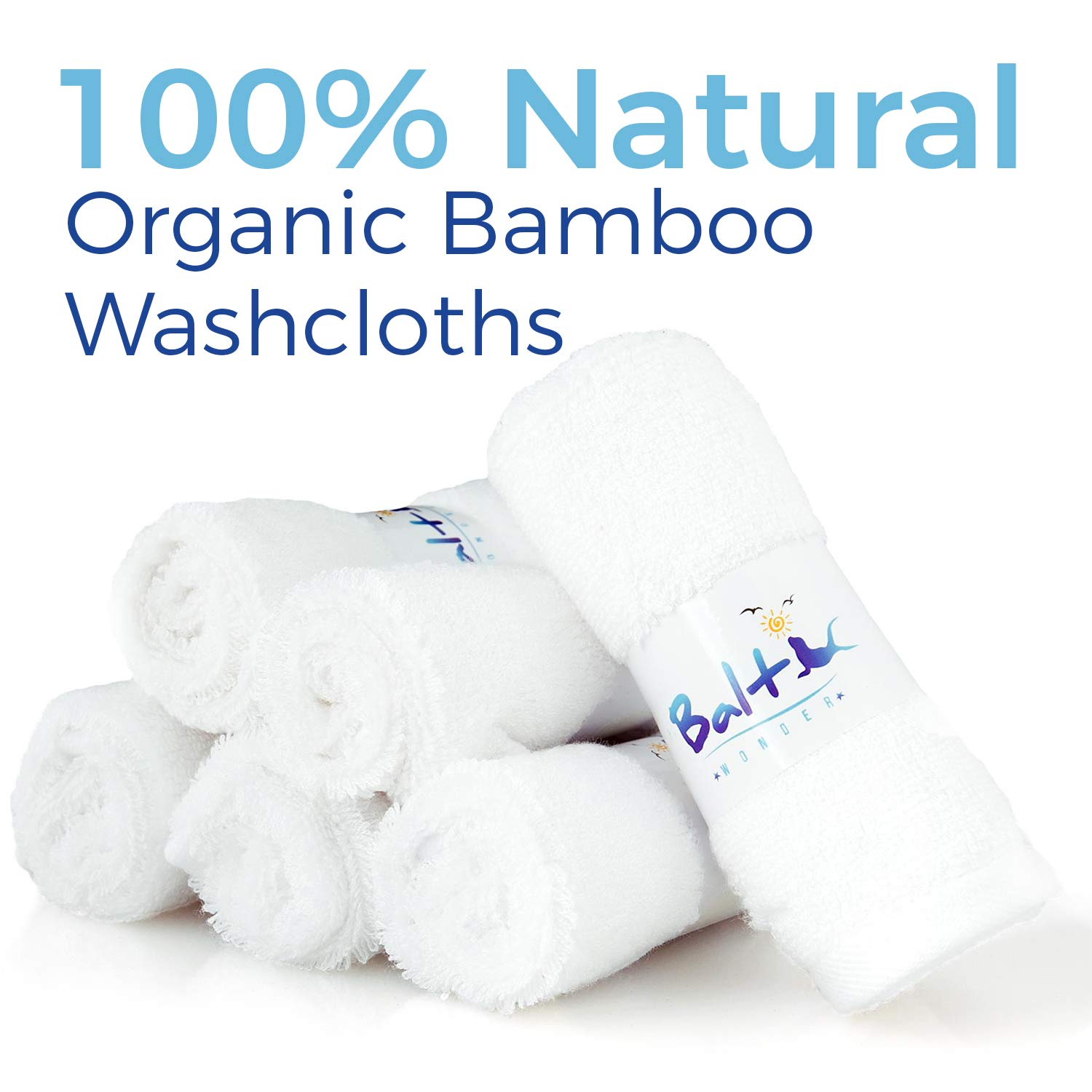 Baby Washcloths – Hypoallergenic Organic Bamboo Towel, Ultra Soft and Absorbent, Natural Reusable Wipes Perfect for Sensitive Skin and Newborn Bath
