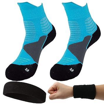 Dee Plus 2 Pares Calcetines Deportivos | Calcetínes Antideslizantes | Calcetines de Fútbol Baloncesto | para