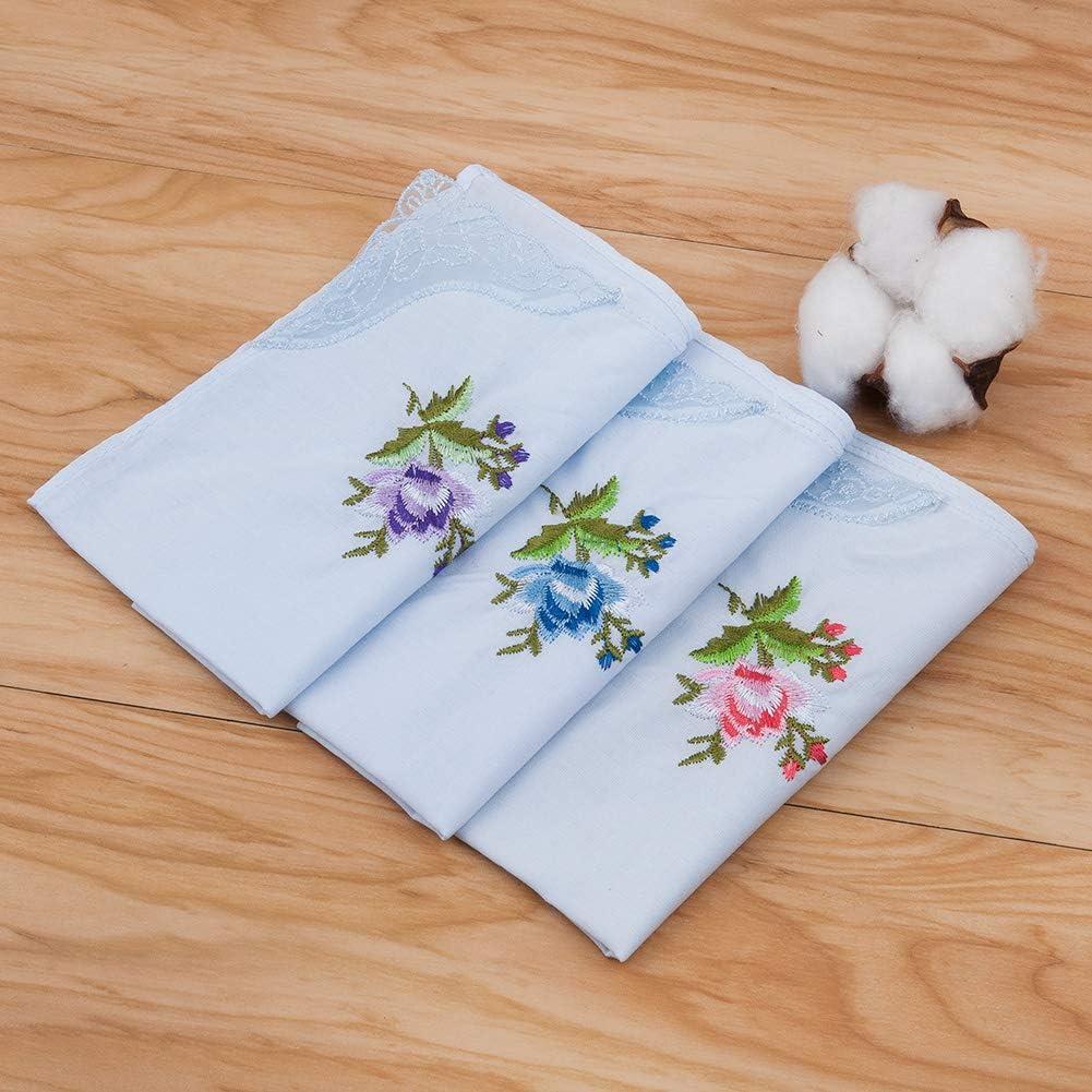HOULIFE Lot de 6 mouchoirs brod/és 100/% coton pour femme Bleu clair Bordure dentelle florale pour f/ête de mariage 6//12 pi/èces 29 x 29 cm