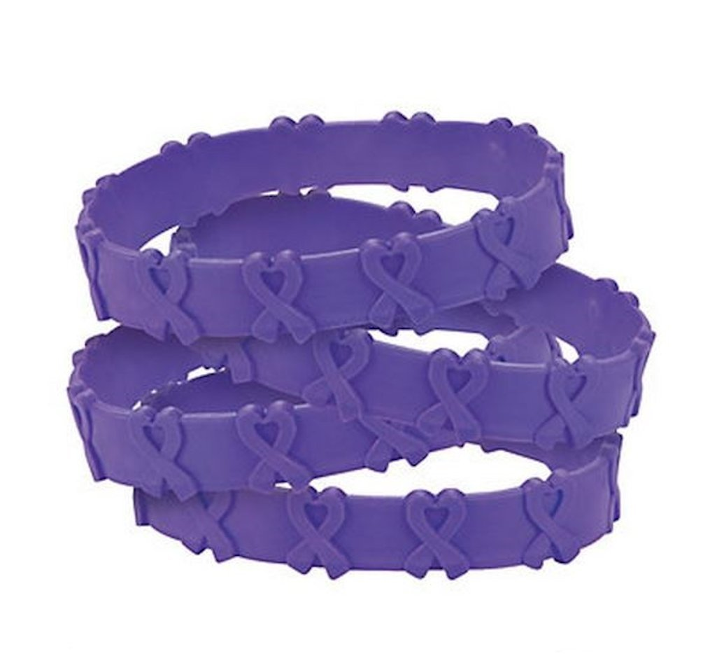 100 Purple Pop-Out Bracelets Pancreatic, Thyroid, Testicular Cancer, Alzheimer's, Animal Abuse Crohn's Disease, Cystic Fibrosis, Lupus, Fibromyalgia, Domestic Violence by Fun Express (Image #1)