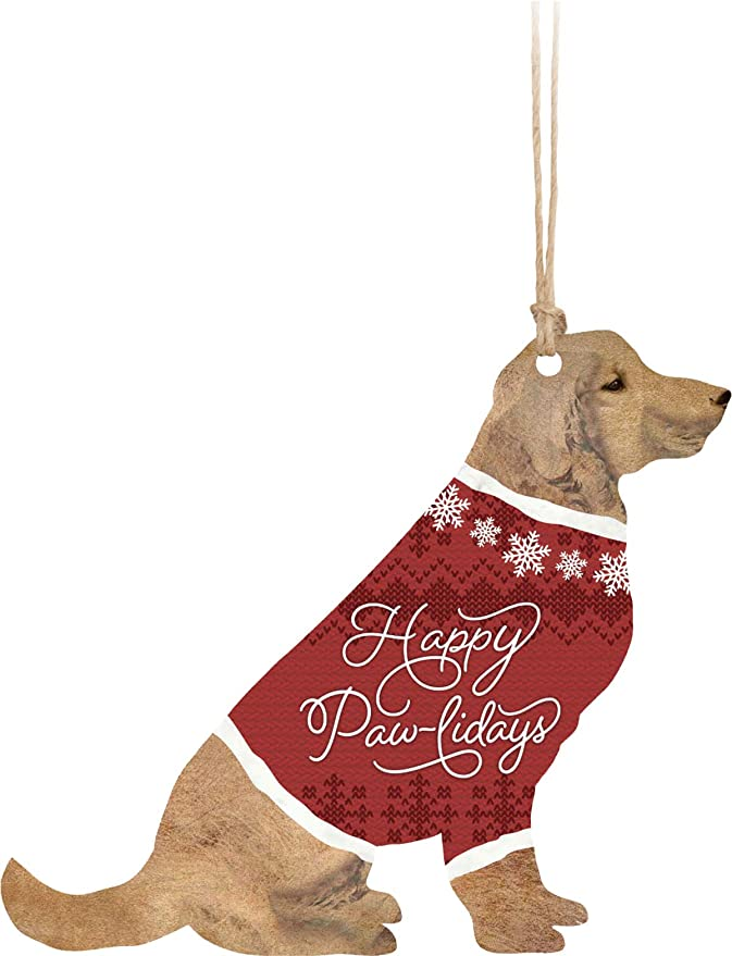 P Graham Dunn Happy Pawlidays Dog Red 3 5 X 3 Wood Christmas Hanging Figurine Ornament Home Kitchen