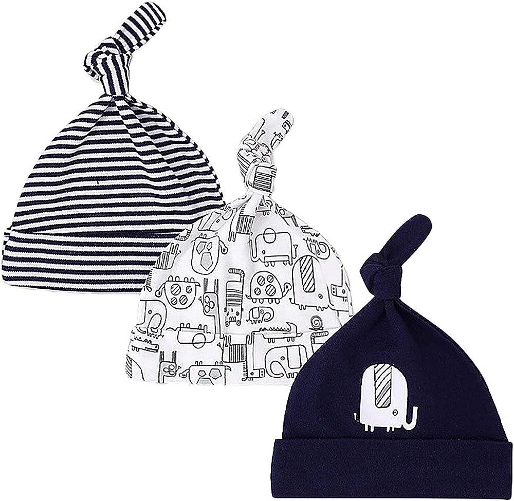 LACOFIA Newborn Baby Boys Girls Cotton Printed Beanie Hat Unisex Infant Essential Cap Pack 3