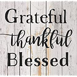 Grateful Thankful Blessed White Wash 18 x 17 Inch Solid Pine Wood Pallet Wall Plaque Sign