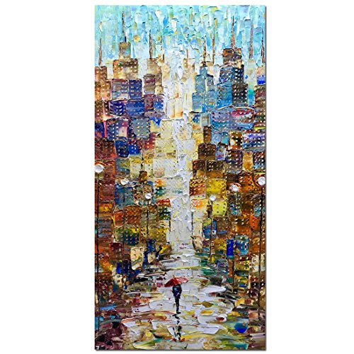 Abstract Modern Painting - V-inspire Paintings, 24x48 Inch Modern Abstract Painting Romatic Street Oil Hand Painting Landscape 3D Hand-Painted On Canvas Abstract Artwork Art Wood Inside Framed Hanging Wall Decoration