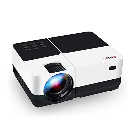 "Review Video Projector, GEARGO 2800 Lumens HD Portable Projector with 185"" and 1080P Support, Compatible with Amazon Fire TV Stick/Laptop/ SD/Xbox/ iPad iPhone Android for Home Theater"