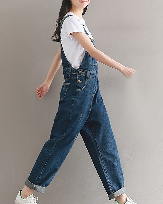9914c4b3569 Women Baggy Dungarees Harem Pants Jumpsuits Overalls Loose Denim Trousers  Ankle Pants  Amazon.co.uk  Clothing
