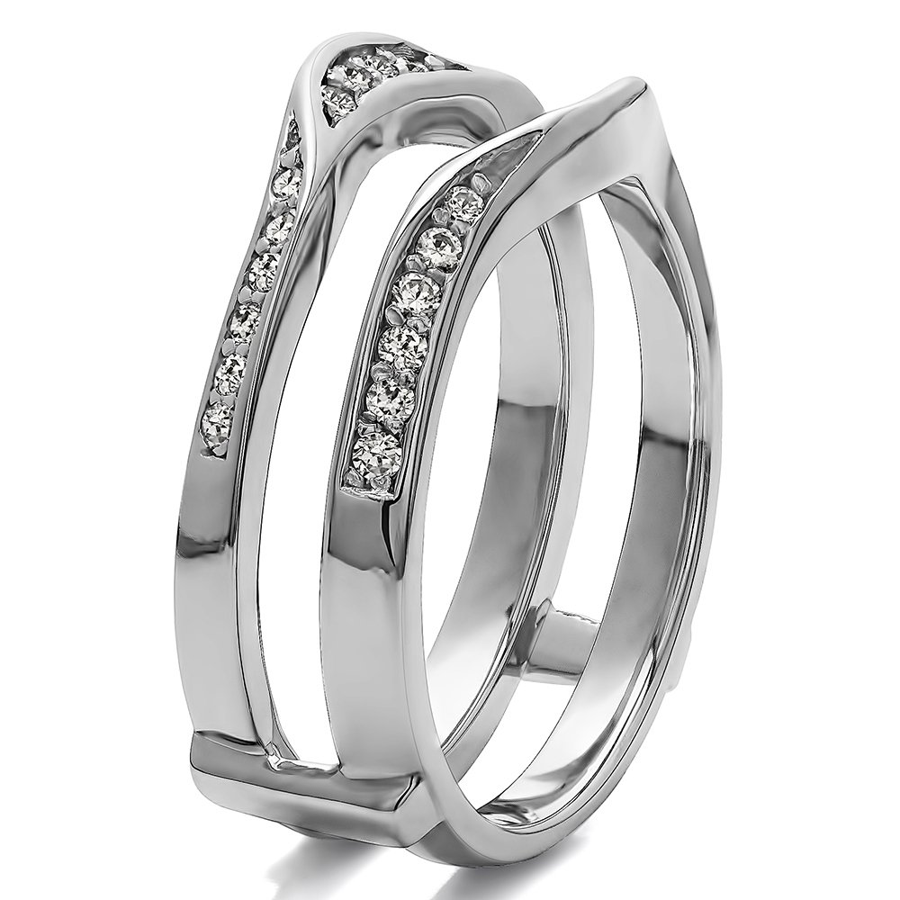 Fancy Classic Style Contour Ring Guard Enhancer Wedding Band with 0.44 cts of Diamonds and Sapphire in Silver by TwoBirch (Image #1)