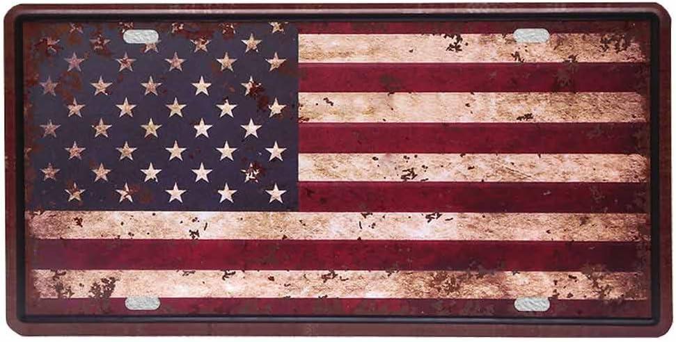 hantajanss Retro Signos de Metal Placas de la Bandera Americana Logo SUV Platos para decoración del Coche 6 Pulgadas x 12 Pulgadas: Amazon.es: Hogar