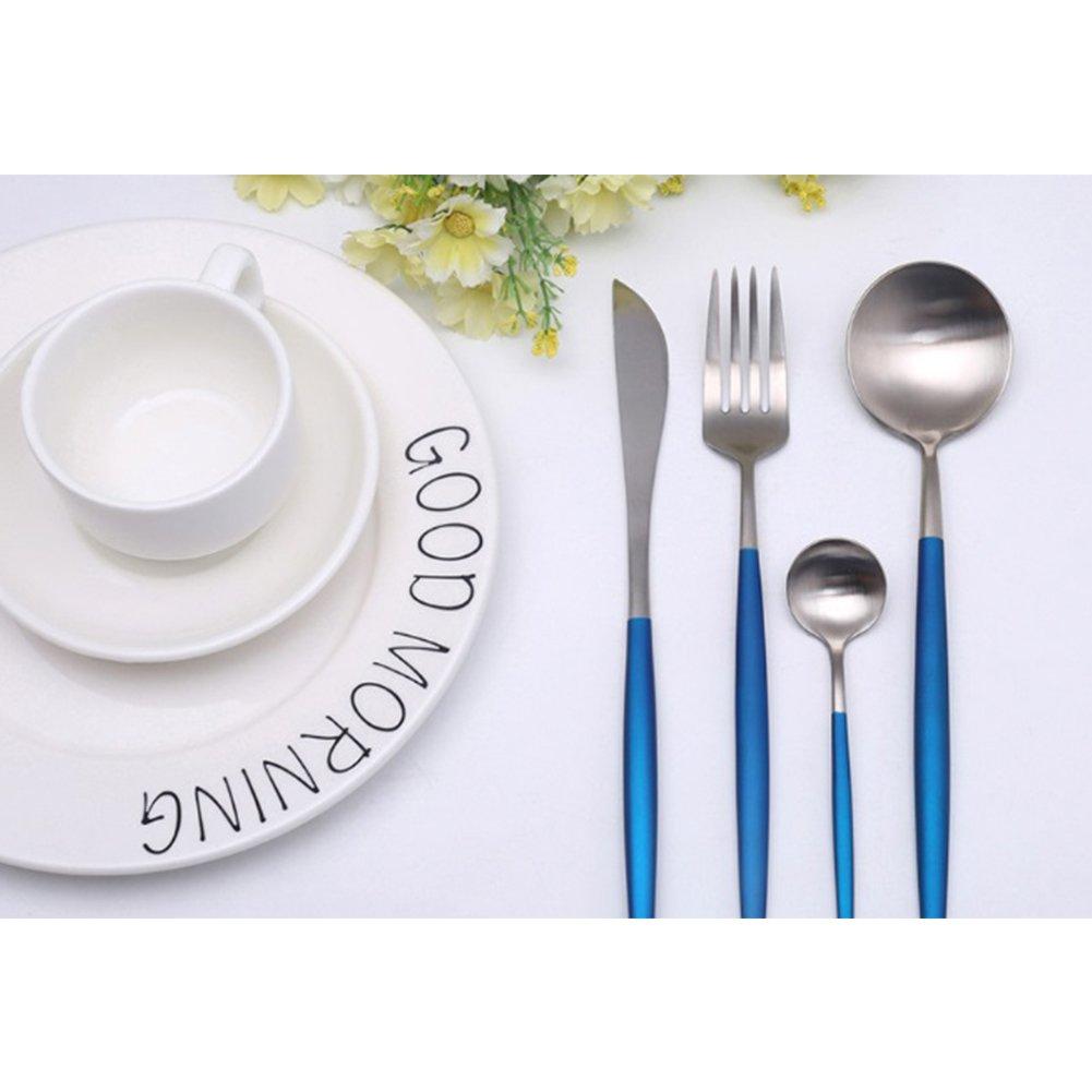 (Silver + Blue) - Dssttyle 4PCS 304 Stainless Steel Cutlery Set Knife Fork Dinner Spoon Dessert Spoon Kitchen Tableware Silver + blue B078W528J7