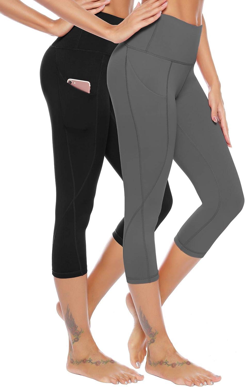 Black+Navy,XS High Waist Cropped Leggings AUU Squat Proof Side Phone Pocket Yoga Capris