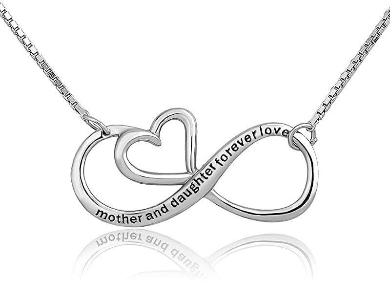 Mother Daughter Forever Love  Silver Heart Necklace