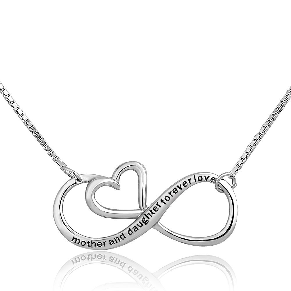 Métal: Alliage infinity Mother Daughter Forever Love Argent sterling Cœur Collier Pendentif pour Mom CharmSStory CharmSStory_CSA_PDSS_HC42