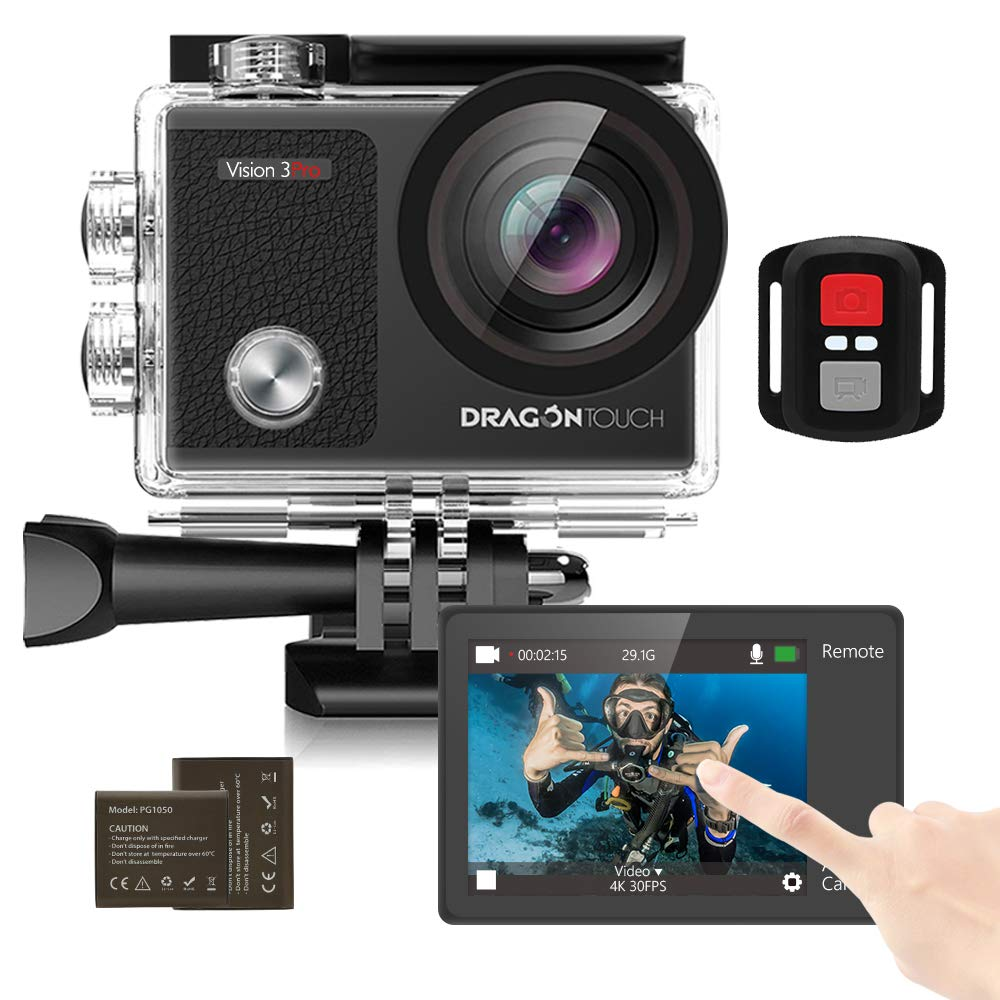 Dragon Touch 4K Action Camera 16MP Vision 3Pro WiFi 100 feet Waterproof Camera with Touch Screen 170°Wide Angle and 2 Batteries and Mounting Accessory Kits