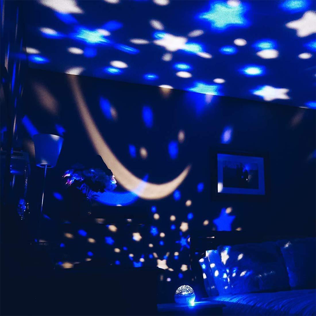 Rosa Proiettore Stelle Soffitto Bambini Luce Notturna LED 360/° Rotazione Lampada da Comodino14 Colori modalit/à Romantica Regalo per Neonati