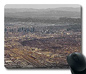 Gaming Mouse Pad Aerial Photography Downtown Los Angeles Oblong Shaped Mouse Mat Design Natural Eco Rubber Durable Computer Desk Stationery Accessories Mouse Pads For Gift Support Wired Wireless or Bluetooth Mouse