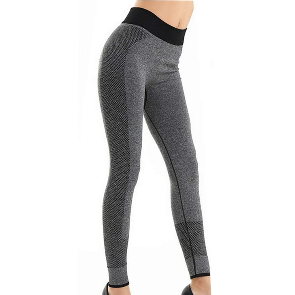 Sunyastor High Waist Yoga for Women Lightweight Leggings Running Gym Yoga Athletic Pants Tummy Control Compression Pant Gray by Sunyastor women pants (Image #5)