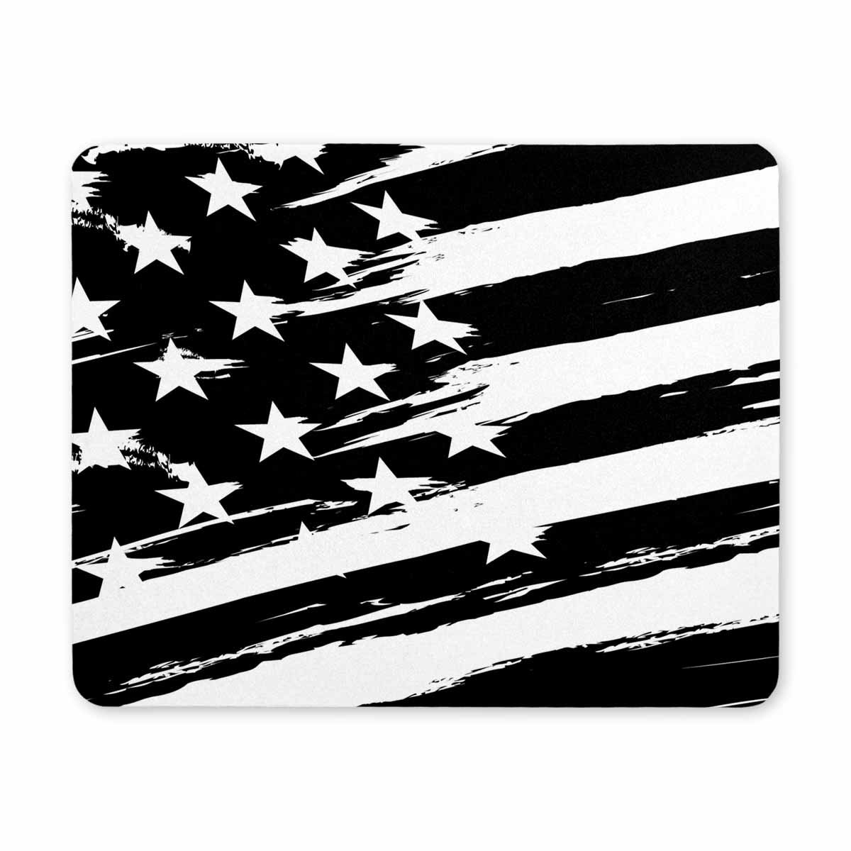 Interestprint Mouse Pad Black and White American Flag Computer Mouse Pad Rubber Mouse Mat