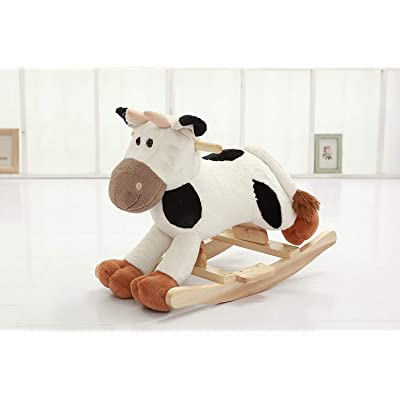 DanyBaby Premium Plush Rocking Horse,Wooden Cow Rocker w/Sound,Stuffed Rocking Animal,Christmas/Birthday Gifts,Baby/Kid Ride On Toy for 1-3 Years Old-ASTM Child Safety Standards Approved (Grey/Black): Toys & Games