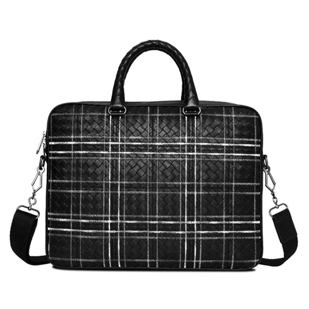 メンズビジネスカジュアルハンドバッグブリーフケース、ショルダーレザーラップトップバッグ (Color : ブラック, Size : M m) B07J487JG6