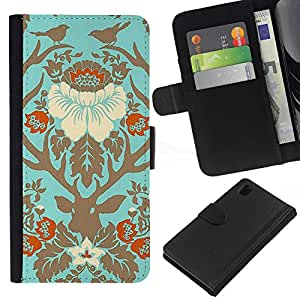 EJOY---La carpeta del tirón la caja de cuero de alta calidad de la PU Caso protector / Sony Xperia Z1 L39 / --Aves floral primavera Ciervo de Oro Hojas