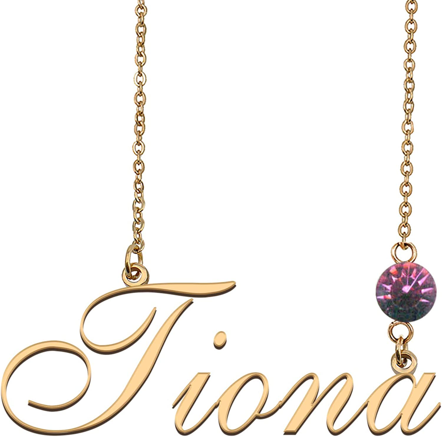 HUAN XUN Custom Name Choker with Birthstone Everyday Name Necklace for Women