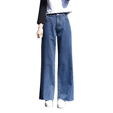 98e177e42a6be Image Unavailable. Image not available for. Color: HIENAJ Women's High  Waist Wide Leg Jeans ...